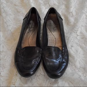 Black business flats loafers